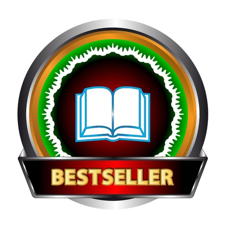 New icon of the bestseller with book on a white background