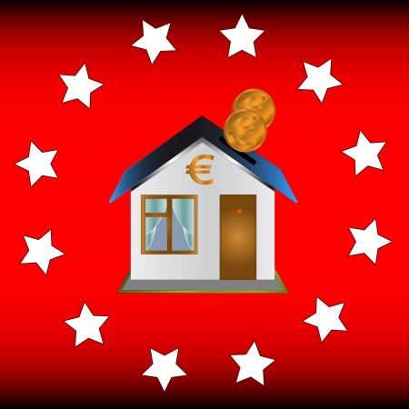 Unique red background with stars and the house in the center Stock Vector - 15939479