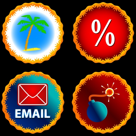 email bomb: Small set of icons on different subject Illustration