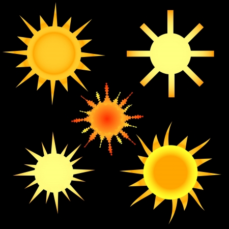 Five various sun on a black background Stock Vector - 15939485