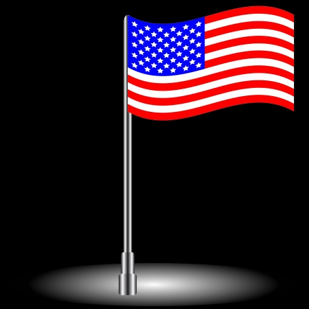 The American flag on a black background Stock Vector - 16005646