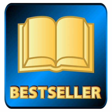 New logo of the bestseller with book on a white background Illustration