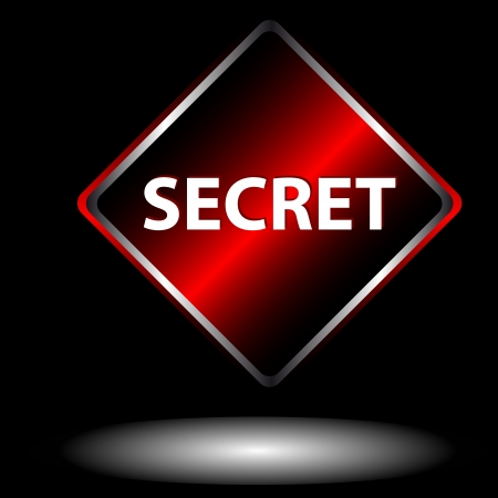Secret icon located on a black background Vector