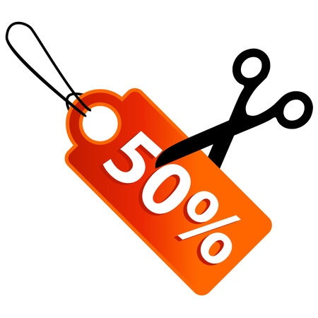 gifttag: New discount in some percent and scissors Illustration