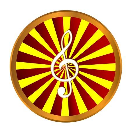 musically: Oro simbolo nota musica su uno sfondo bianco