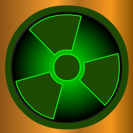 Green radiation round sign over gold background