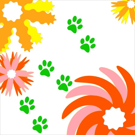 Unique background from dark blue traces of animals Stock Vector - 16099016