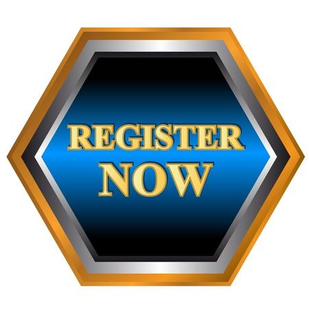 Register now logo on a white background Stock Vector - 16099006