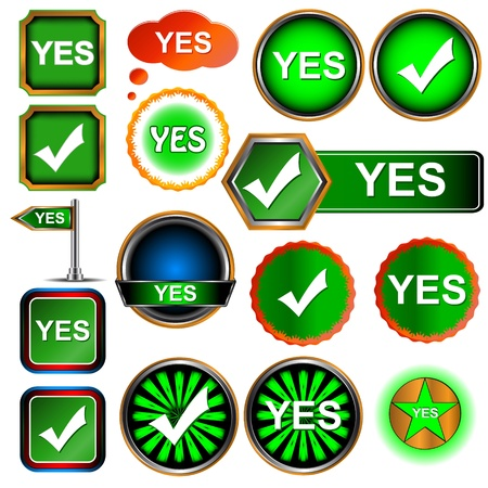 Big yes icons set on a white background Vector