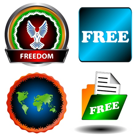 largess: Free and freedom set on a white background Illustration