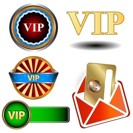 Big vip logo set in unique style Stock Vector - 16259045