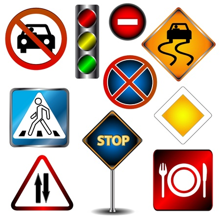 Big set of road signs on a white background Stock Vector - 16259044