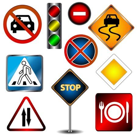 señal de transito: Gran conjunto de señales de tráfico sobre un fondo blanco