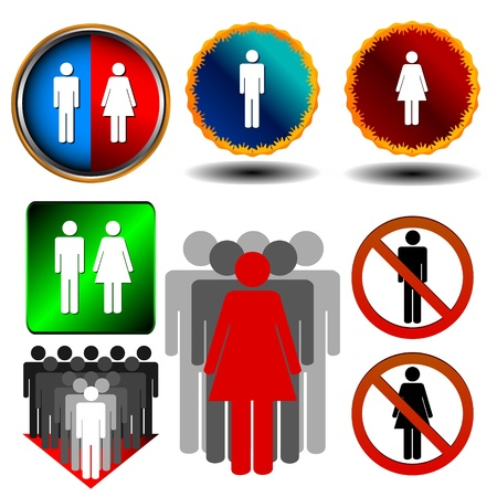 Big man and woman set in various styles Stock Vector - 16259077