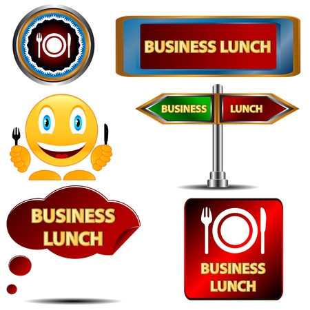 Business lunch set on a white background Vector