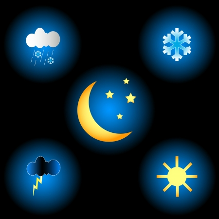 Big weather set on a black background Stock Vector - 16259070