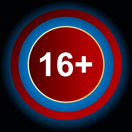 plus icon: Sixteen plus icon on a black background