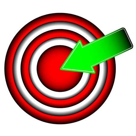 purpose: The big round purpose with a green arrow Illustration