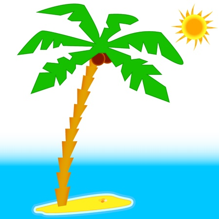 Palm tree with sun and blue sea Vector