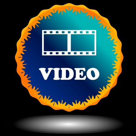Blue video logo on a black background Vector