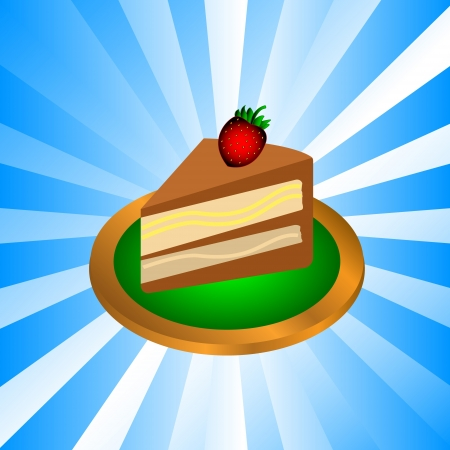 gateau: Piece of chocolate cake with cream and strawberry