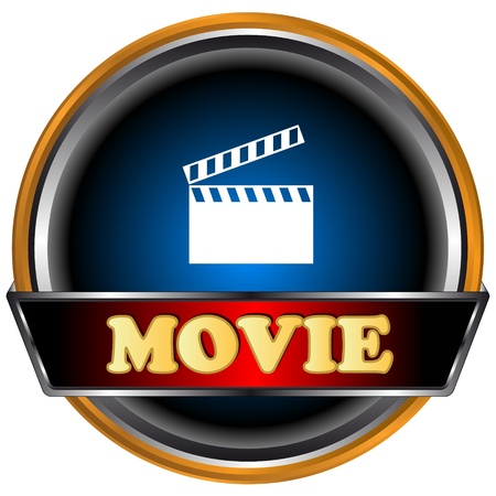Blue movie logo on a black background
