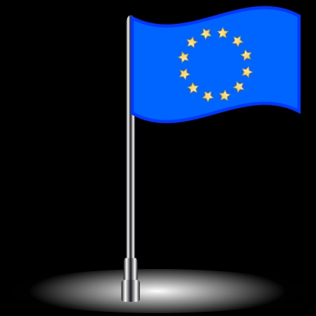 iraq conflict: The Euro flag on a black background Illustration