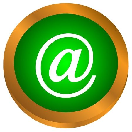 Icon of green mail on a white background  Vector