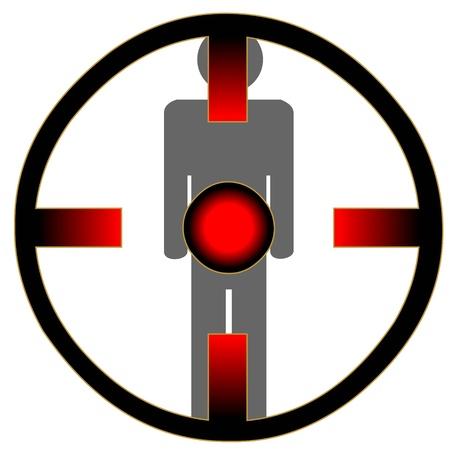 hardened: Man under the red eye on white background