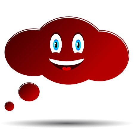 Cheerful red cloud with a shadow in unique style Vector