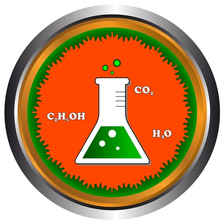 Scientific icon with a flask and various formulas Stock Vector - 16601491