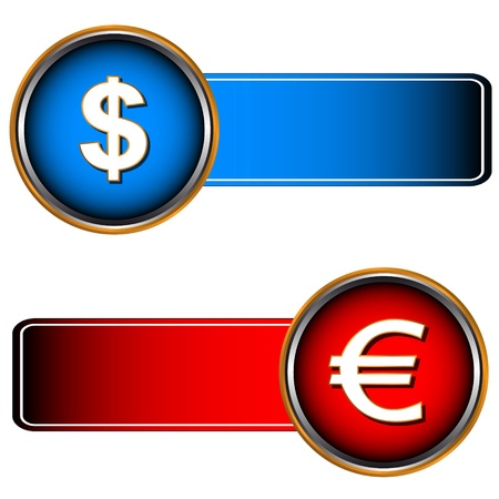 Two symbols of currencies on a red and dark blue background Stock Vector - 16601493