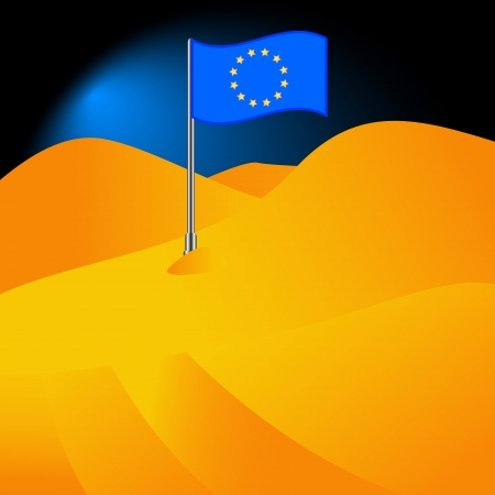 hilt: The Euro flag in the desert in abstract style Illustration