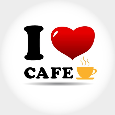 I love cafe logo in unique style Vector