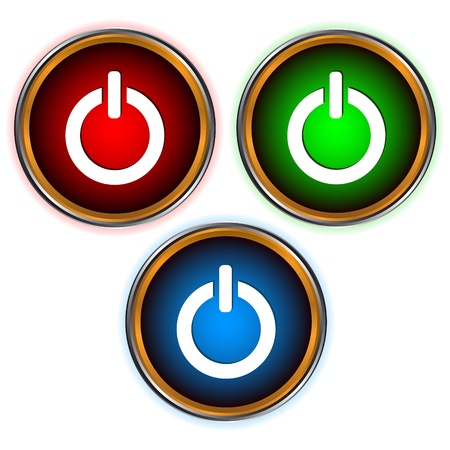 Power set of three icons of different colors Stock Vector - 16656697