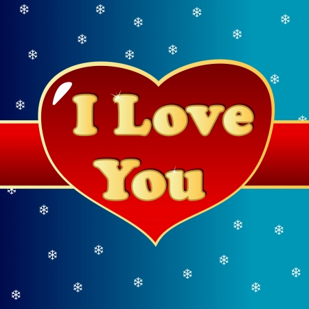 Text I love you with heart in unique style Vector