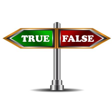 unecht: Buttons wahr und falsch auf einem wei�en Hintergrund