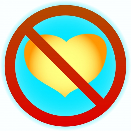 No yellow heart in a blue circle on a white background Stock Vector - 16798016