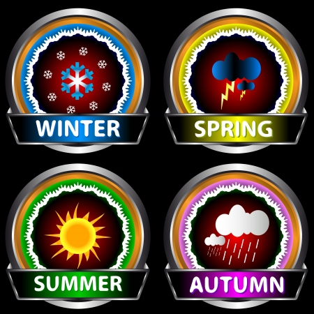 Set of labels in the form of four seasons Stock Vector - 16797985