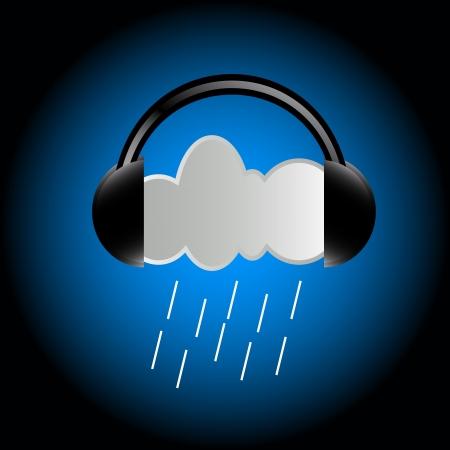 musically: Un concetto unico della nube in cuffia Vettoriali