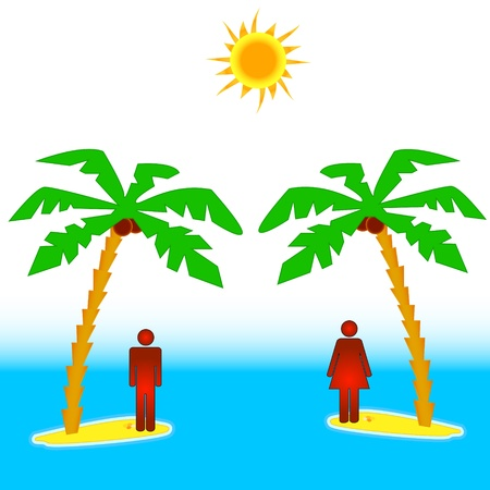 resentment: The concept of the two islands with people Illustration