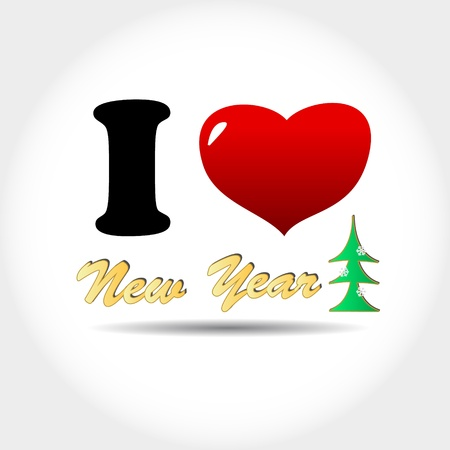 New i love new year in unique style Stock Vector - 16797996