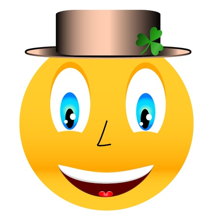 New smile in a hat with a green clover Stock Vector - 16798030