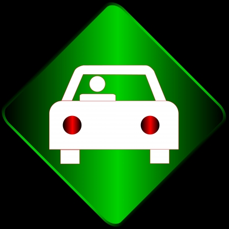 Green sign with the car on a black background Stock Vector - 16900270