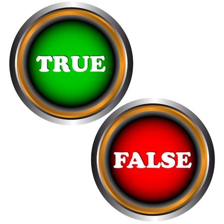 true false: Buttons true and false on a white background