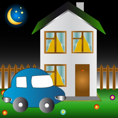 The car and the house on a lawn with flowers Stock Vector - 16900293