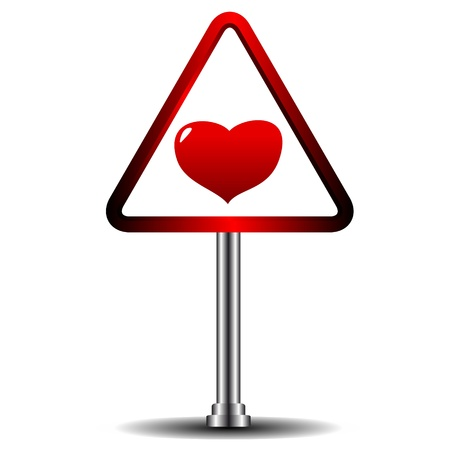 Beautiful heart in the form of a road sign Vector
