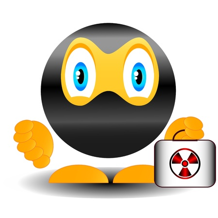 nuclear weapon: Smile the terrorist with a suitcase of the nuclear weapon Illustration