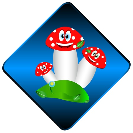 Three mushrooms on a glade in the form of icon Vector