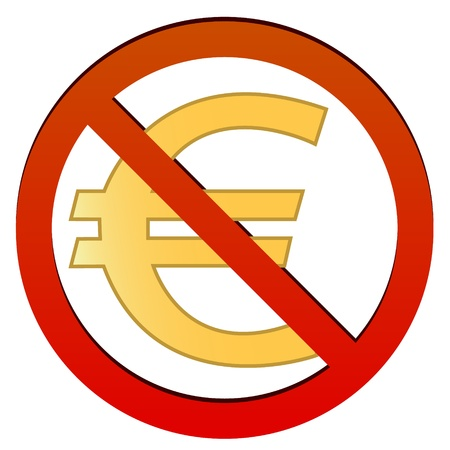 Sign no euro on a white background Stock Vector - 17309304